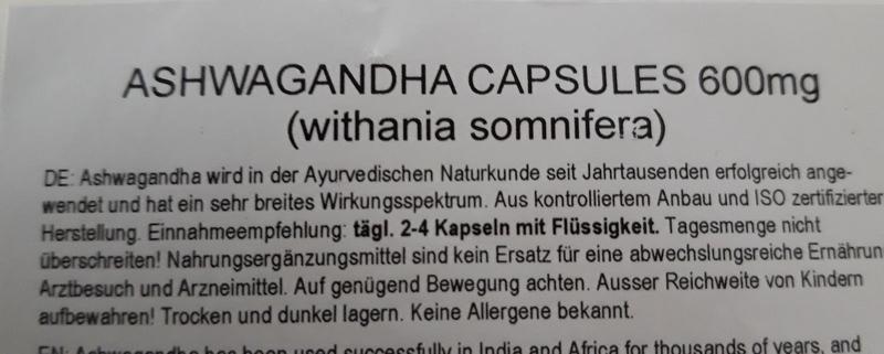 Ashwagandha Kapseln Verpackung Rückseite
