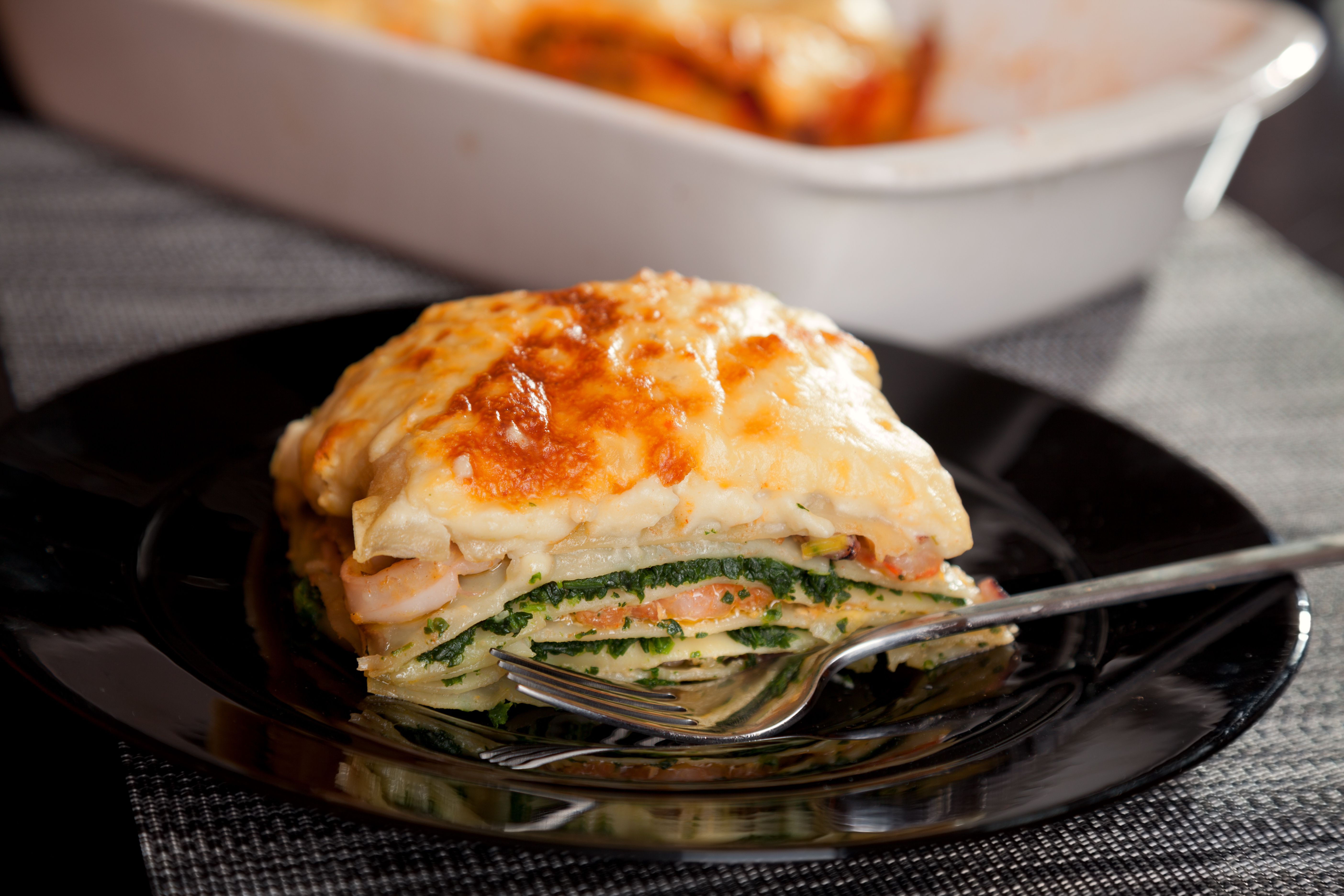 Italienische Lasagne mit Spinat gegen Stress