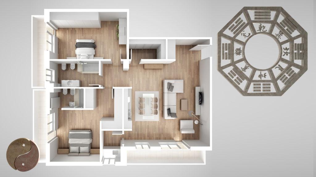Wohnung nach Feng Shui eingerichtet - Sicht von oben